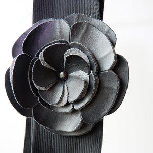 🐝 Black Elastic Belt with Flower